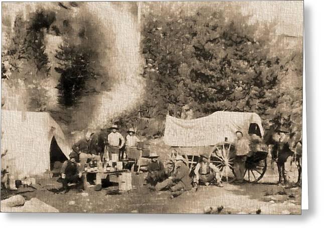 1860 Pikes Peak Prospectors Greeting Card by Dan Sproul