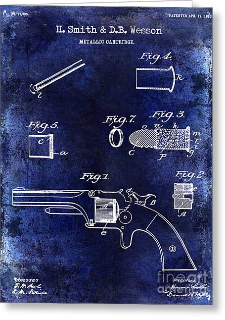 1860 Greeting Cards - 1860 Smith and Wesson Firearm Patent Drawing Blue Greeting Card by Jon Neidert