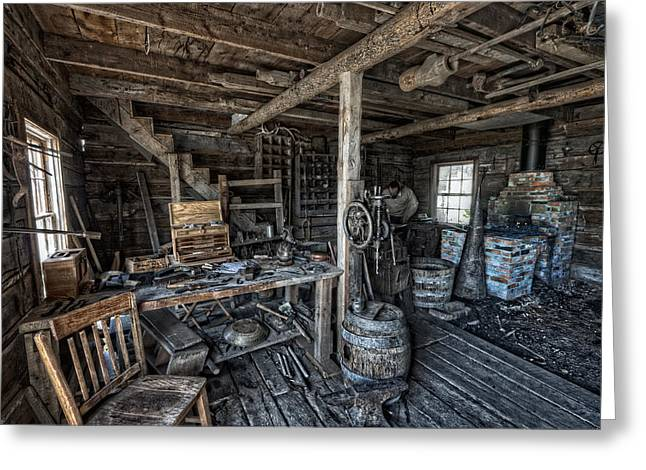 Saw Greeting Cards - 1860s BLACKSMITH SHOP - NEVADA CITY GHOST TOWN - MONTANA Greeting Card by Daniel Hagerman