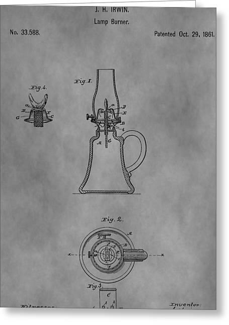 Oil Lamp Drawings Greeting Cards - 1861 Oil Lamp Patent Greeting Card by Dan Sproul