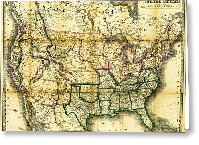 Vintage Map Photographs Greeting Cards - 1861 United States Map Greeting Card by Daniel Hagerman