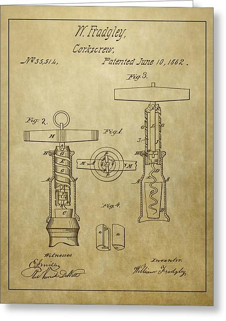 1862 Corkscrew Patent Greeting Card by Dan Sproul