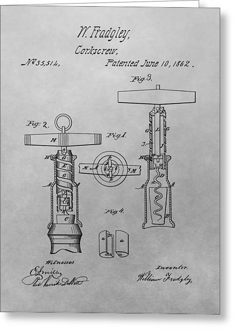 Wine-glass Drawings Greeting Cards - 1862 Corkscrew Patent Drawing Greeting Card by Dan Sproul