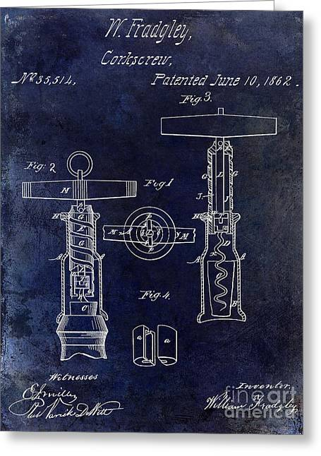 Cocktails Greeting Cards - 1862 Corkscrew Patent Drawing Greeting Card by Jon Neidert