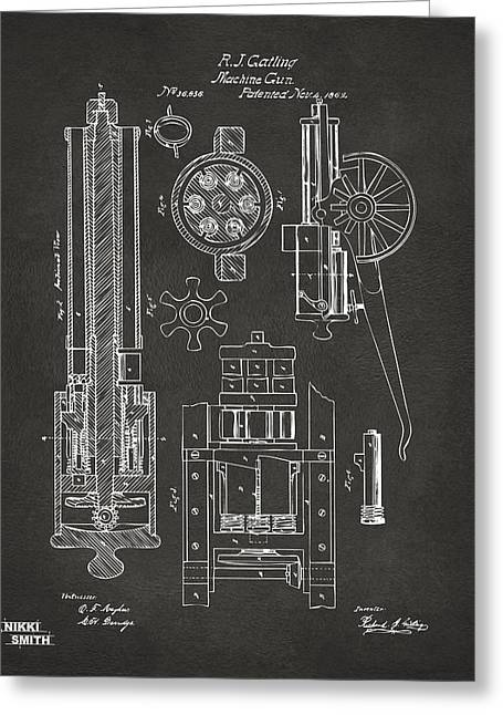 Mens Greeting Cards - 1862 Gatling Gun Patent Artwork - Gray Greeting Card by Nikki Marie Smith