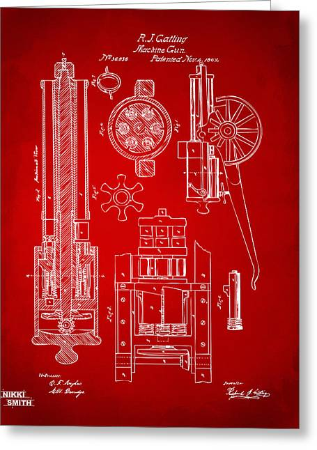 1862 Gatling Gun Patent Artwork - Red Greeting Card by Nikki Marie Smith