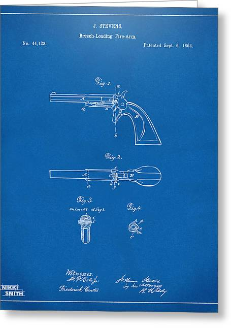 Breaching Greeting Cards - 1864 Breech Loading Pistol Patent Artwork - Blueprint Greeting Card by Nikki Marie Smith