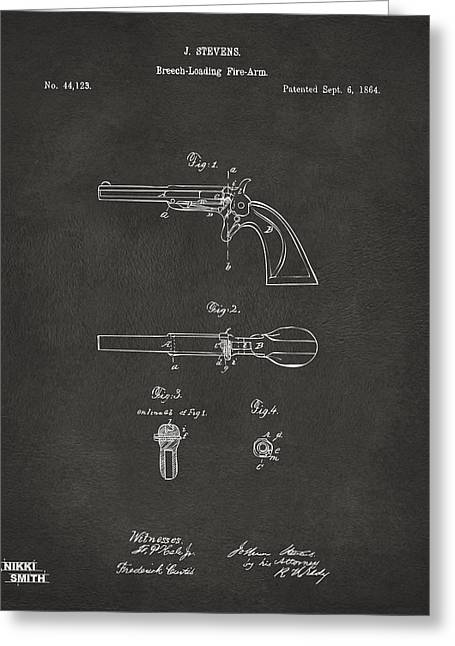 Breaching Greeting Cards - 1864 Breech Loading Pistol Patent Artwork - Gray Greeting Card by Nikki Marie Smith