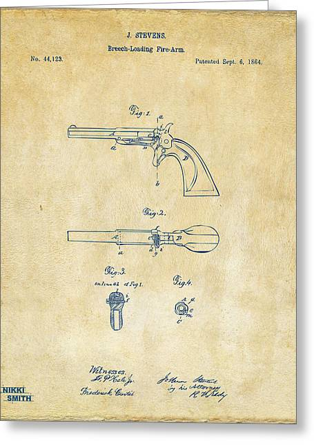 Breaching Greeting Cards - 1864 Breech Loading Pistol Patent Artwork - Vintage Greeting Card by Nikki Marie Smith