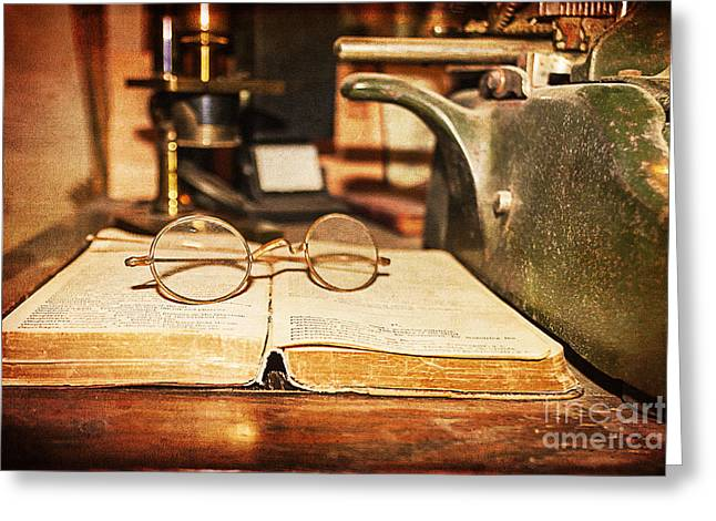Concept Photographs Greeting Cards - 1864 Physicians Desk Greeting Card by Janice Rae Pariza