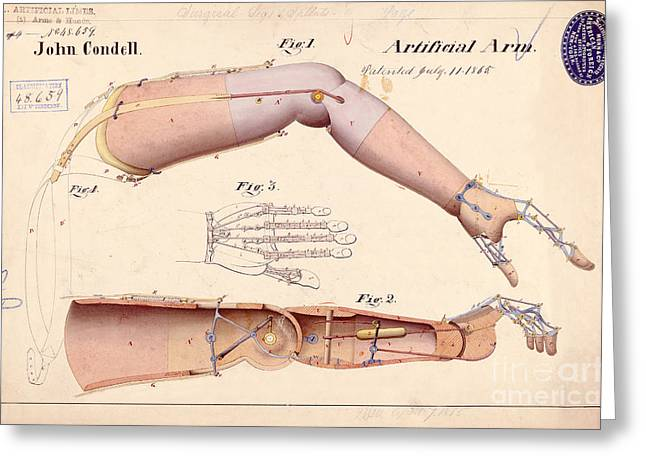 Lincoln Drawings Greeting Cards - 1865 Artificial Limbs Patent Drawing Greeting Card by Jon Neidert