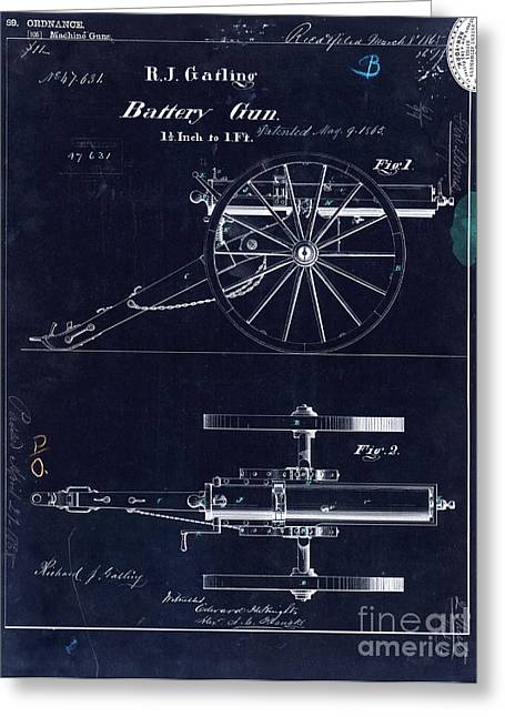 Wwi Photographs Greeting Cards - 1865 Gatling Battery Gun Patent Drawing Blue Greeting Card by Jon Neidert