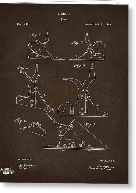 Espresso Prints Greeting Cards - 1865 John Deere Plow Patent Espresso Greeting Card by Nikki Marie Smith