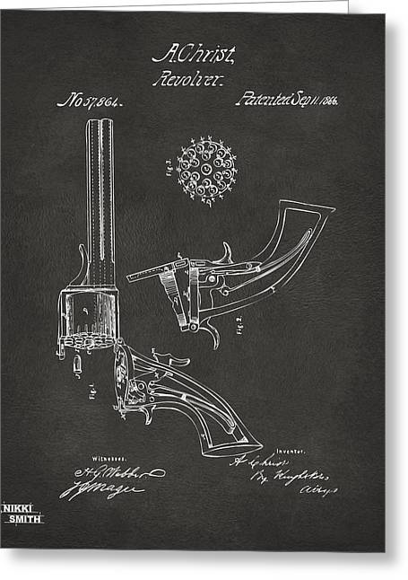 Gift For Greeting Cards - 1866 Christ Revolver Patent Artwork - Gray Greeting Card by Nikki Marie Smith