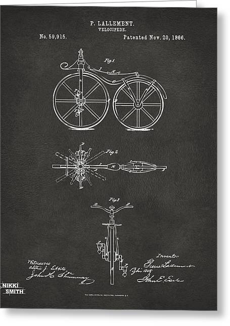 Vintage Bicycle Greeting Cards - 1866 Velocipede Bicycle Patent Artwork - Gray Greeting Card by Nikki Marie Smith