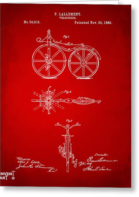 Vintage Bicycle Greeting Cards - 1866 Velocipede Bicycle Patent Artwork Red Greeting Card by Nikki Marie Smith