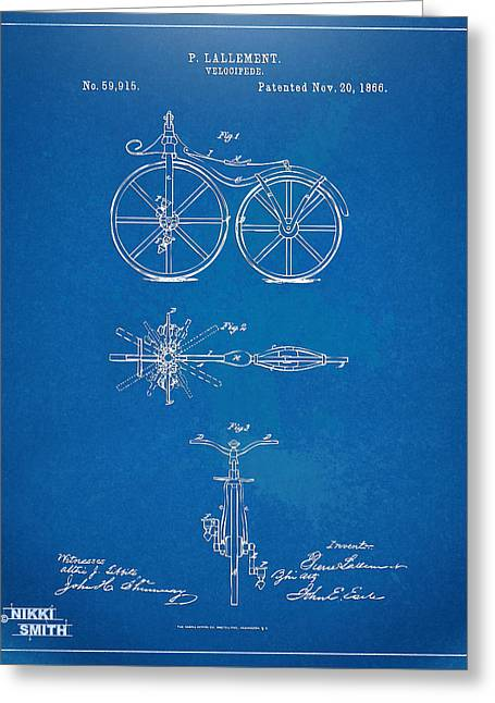 1860 Greeting Cards - 1866 Velocipede Bicycle Patent Blueprint Greeting Card by Nikki Marie Smith
