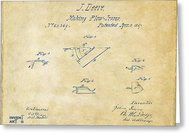 John Deere Greeting Cards - 1867 John Deere Plow Irons Patent Vintage H Greeting Card by Nikki Marie Smith