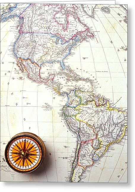 Circular Circle Circles Greeting Cards - 1868 Map of America Greeting Card by Garry Gay