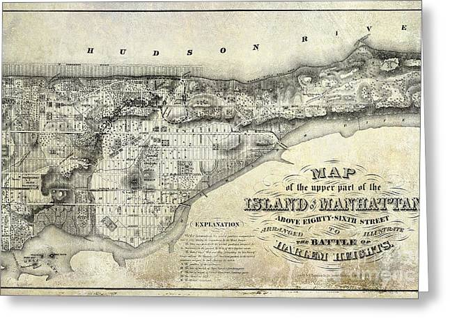 Manhattan Greeting Cards - 1868 Map of Manhattan Greeting Card by Jon Neidert