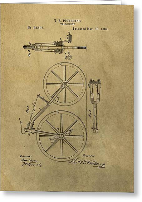 Cycle Mixed Media Greeting Cards - 1869 Bicycle Patent Greeting Card by Dan Sproul