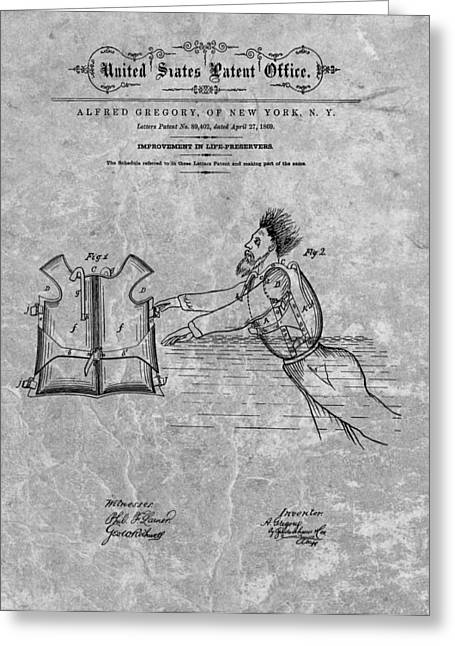 Ocean Photography Drawings Greeting Cards - 1869 Life Preserver Patent Charcoal Greeting Card by Dan Sproul