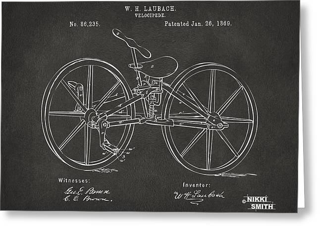 Pedal Greeting Cards - 1869 Velocipede Bicycle Patent Artwork - Gray Greeting Card by Nikki Marie Smith