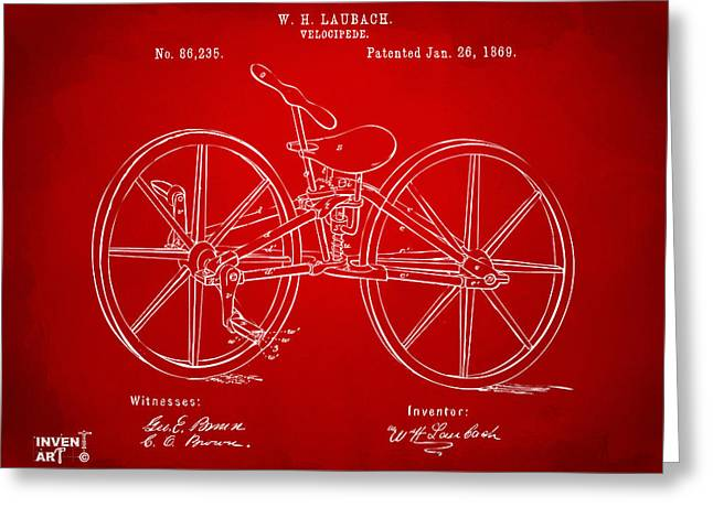 Vintage Bicycle Greeting Cards - 1869 Velocipede Bicycle Patent Artwork Red Greeting Card by Nikki Marie Smith