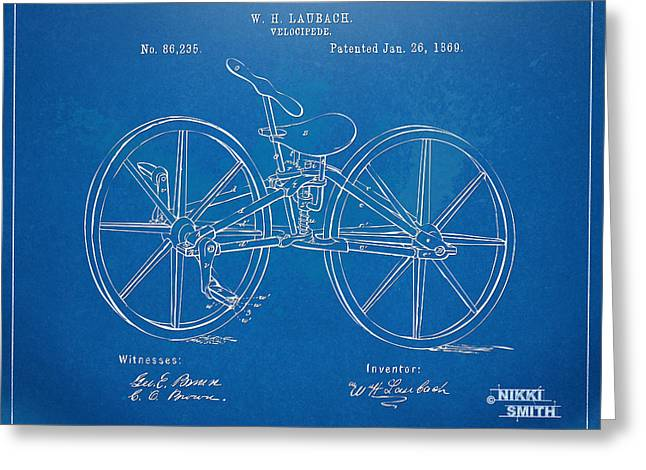 1860 Greeting Cards - 1869 Velocipede Bicycle Patent Blueprint Greeting Card by Nikki Marie Smith