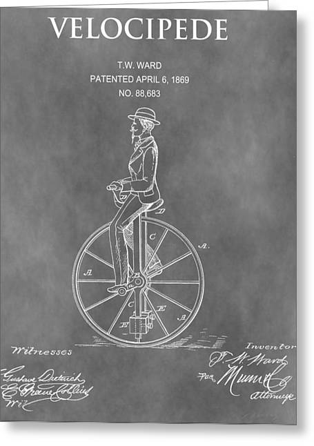 Cycle Mixed Media Greeting Cards - 1869 Velocipede Patent Greeting Card by Dan Sproul