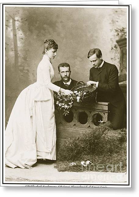 Alexandrovich Greeting Cards - 187. GD Elizabeth Feodorovna GD Sergei Alexandrovich  Ernest Louis Hereditary Grand Duke of Hesse Greeting Card by Royal Portraits