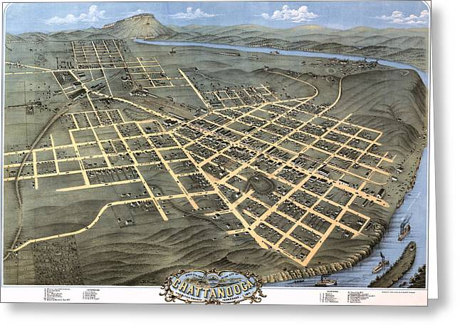 County Seat Greeting Cards - 1871 Birds Eye Map of Chattanooga Greeting Card by Stephen Stookey