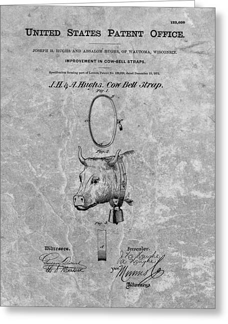 Straps Drawings Greeting Cards - 1871 Cow Bell Patent Greeting Card by Dan Sproul