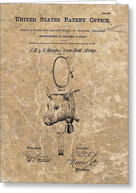 Will Ferrell Greeting Cards - 1871 Cow Bell Strap Patent Greeting Card by Dan Sproul