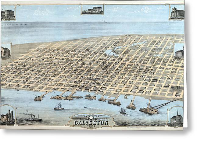 Church Synagogue Greeting Cards - 1871 Galveston Birds Eye Map Greeting Card by Stephen Stookey