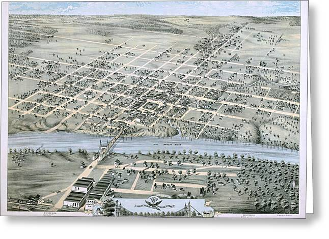 Hand Drawn Greeting Cards - 1873 Birds Eye Map of Waco Greeting Card by Stephen Stookey
