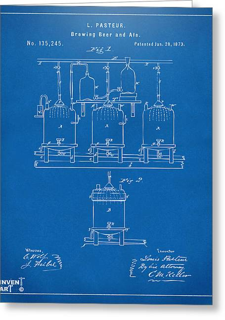 Bar Art Greeting Cards - 1873 Brewing Beer and Ale Patent Artwork - Blueprint Greeting Card by Nikki Marie Smith