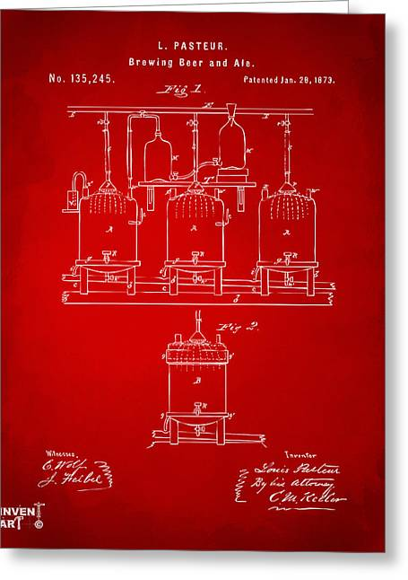 1873 Brewing Beer And Ale Patent Artwork - Red Greeting Card by Nikki Marie Smith