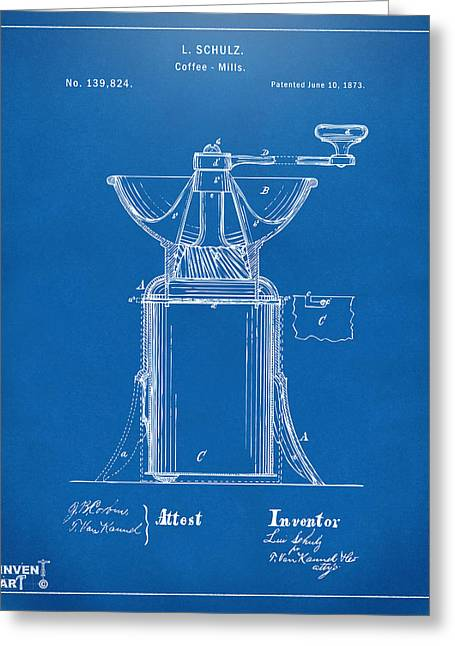 Decaf Greeting Cards - 1873 Coffee Mills Patent Artwork Blueprint Greeting Card by Nikki Marie Smith