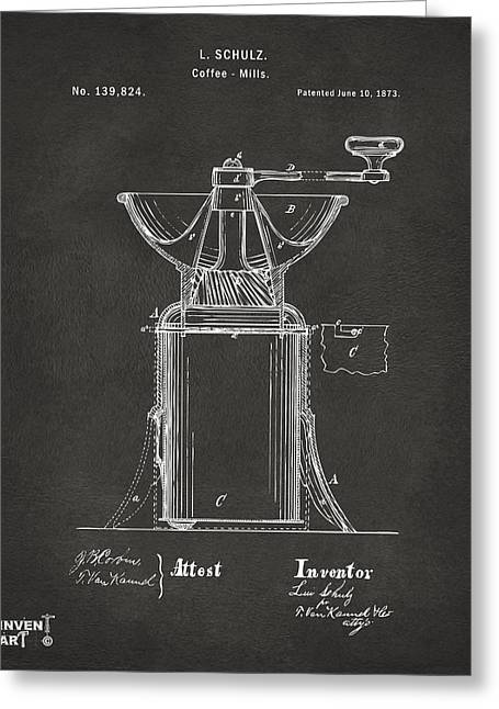 Espresso Art Greeting Cards - 1873 Coffee Mills Patent Artwork Gray Greeting Card by Nikki Marie Smith