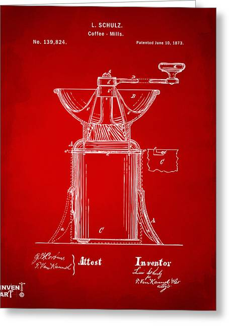 Mills Greeting Cards - 1873 Coffee Mills Patent Artwork Red Greeting Card by Nikki Marie Smith