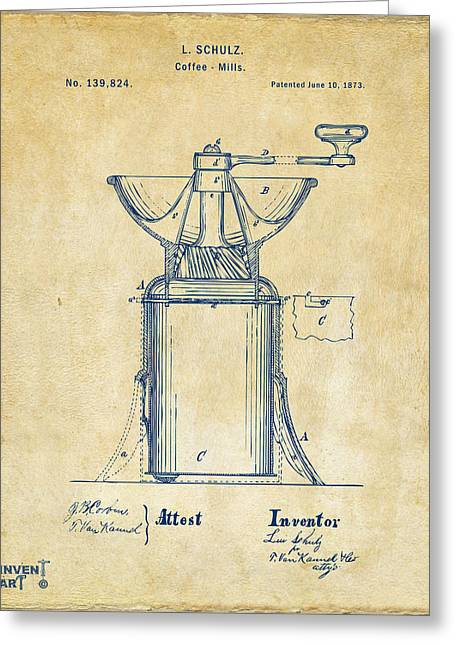 Decaf Greeting Cards - 1873 Coffee Mills Patent Artwork Vintage Greeting Card by Nikki Marie Smith