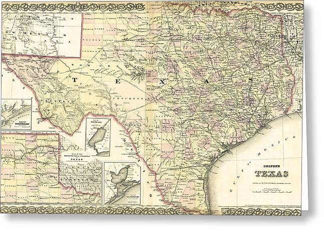 Galveston Greeting Cards - 1873 TEXAS MAP by COLTON Greeting Card by Daniel Hagerman