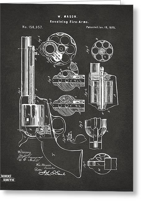 1875 Colt Peacemaker Revolver Patent Artwork - Gray Greeting Card by Nikki Marie Smith