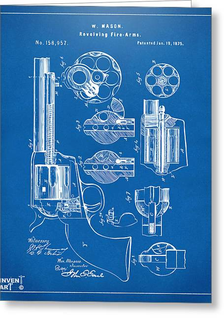 Hunting Greeting Cards - 1875 Colt Peacemaker Revolver Patent Blueprint Greeting Card by Nikki Marie Smith