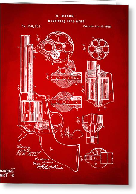 Colts Greeting Cards - 1875 Colt Peacemaker Revolver Patent Red Greeting Card by Nikki Marie Smith