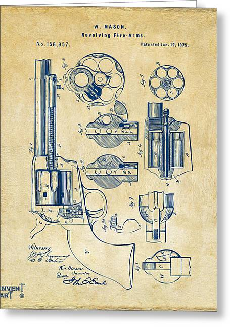 Us History Drawings Greeting Cards - 1875 Colt Peacemaker Revolver Patent Vintage Greeting Card by Nikki Marie Smith