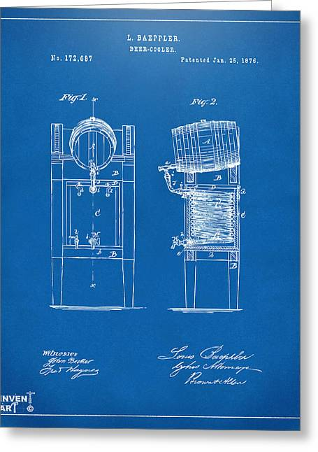 Bar Art Greeting Cards - 1876 Beer Keg Cooler Patent Artwork Blueprint Greeting Card by Nikki Marie Smith