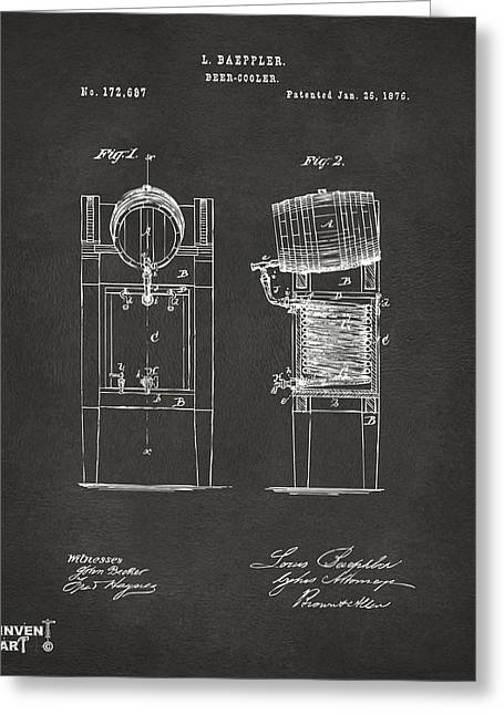1876 Beer Keg Cooler Patent Artwork - Gray Greeting Card by Nikki Marie Smith