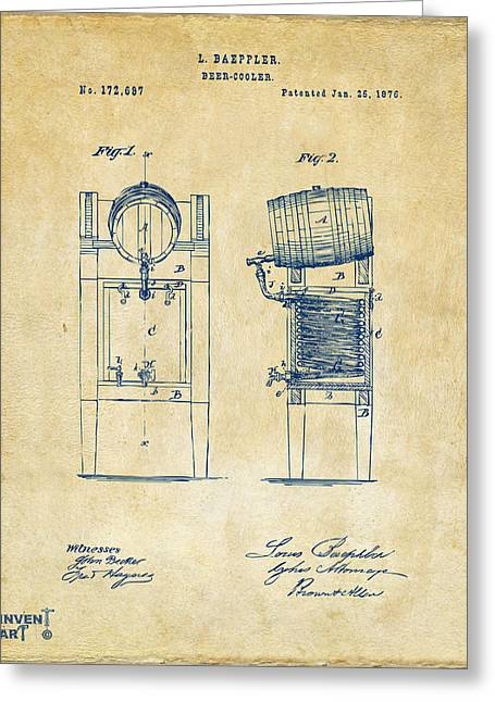 Bar Art Greeting Cards - 1876 Beer Keg Cooler Patent Artwork - Vintage Greeting Card by Nikki Marie Smith
